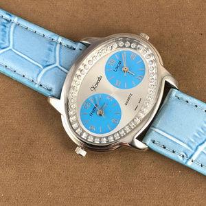 Vintage Accessories - Xanadu Dual Time Silver Tone Blue Leather Watch